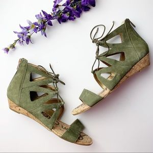 Sam Edelman Dean Lace Up Cage Green Sandals NWT